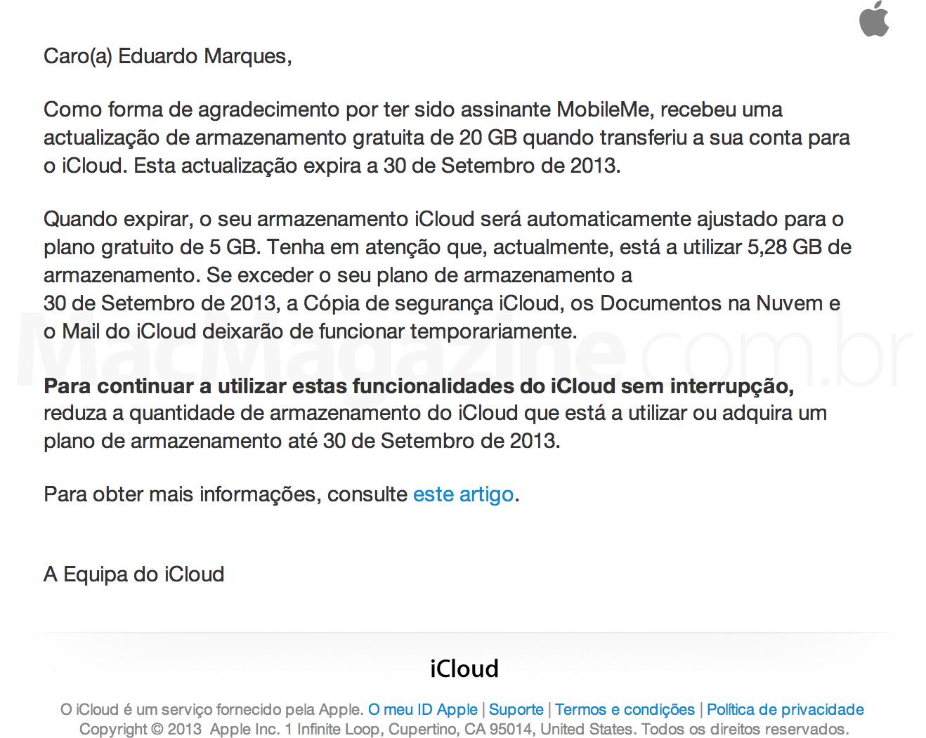 Email da Apple sobre armazenamento do iCloud