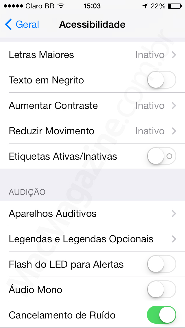 Screenshot do iOS 7 beta 5