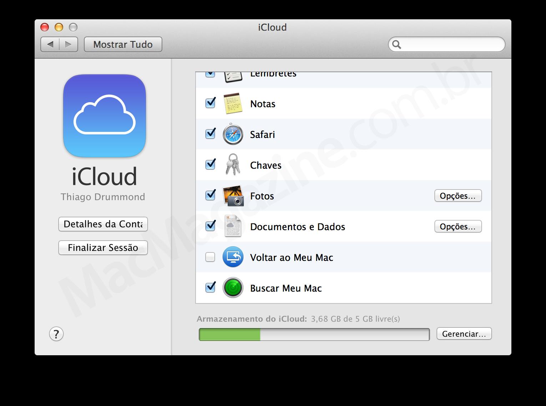 Configurações do iCloud no OS X Mavericks