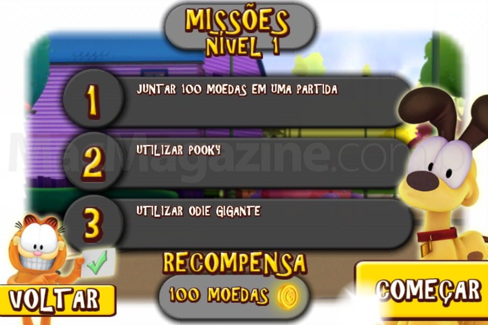 Jogo Garfield's Wild Ride para iOS