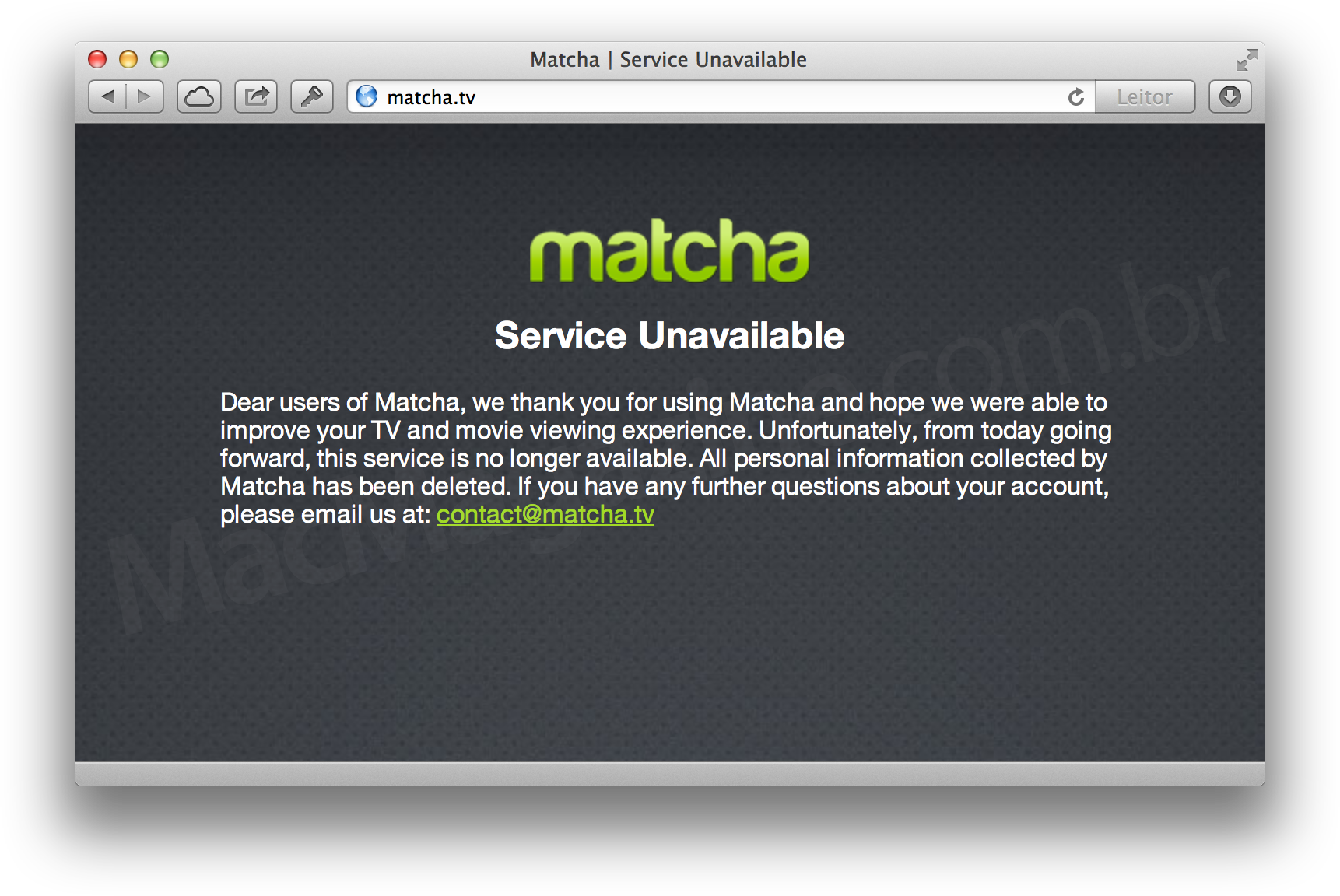 Site da Matcha.tv desativado