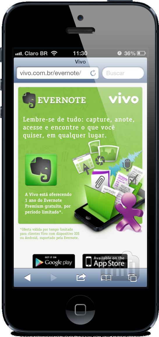 Promoção - Evernote + Vivo