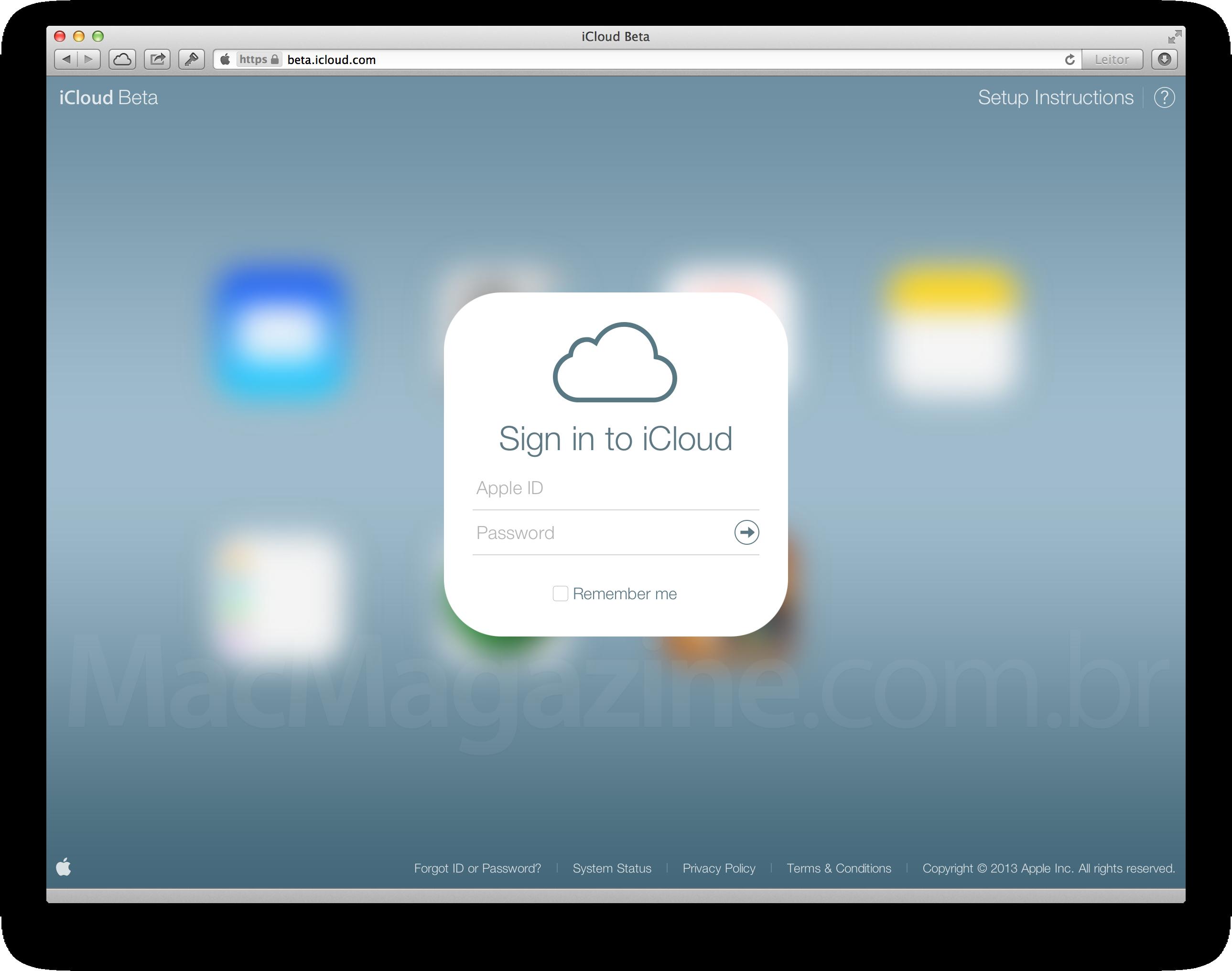 iCloud beta com visual do iOS 7