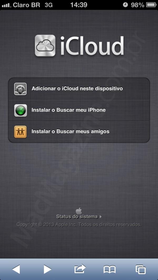 iCloud quando acessado por iPhones/iPods touch