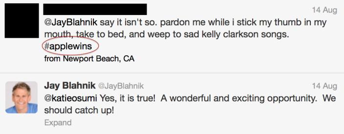 Tweet apagado de Jay Blahnik-tweet