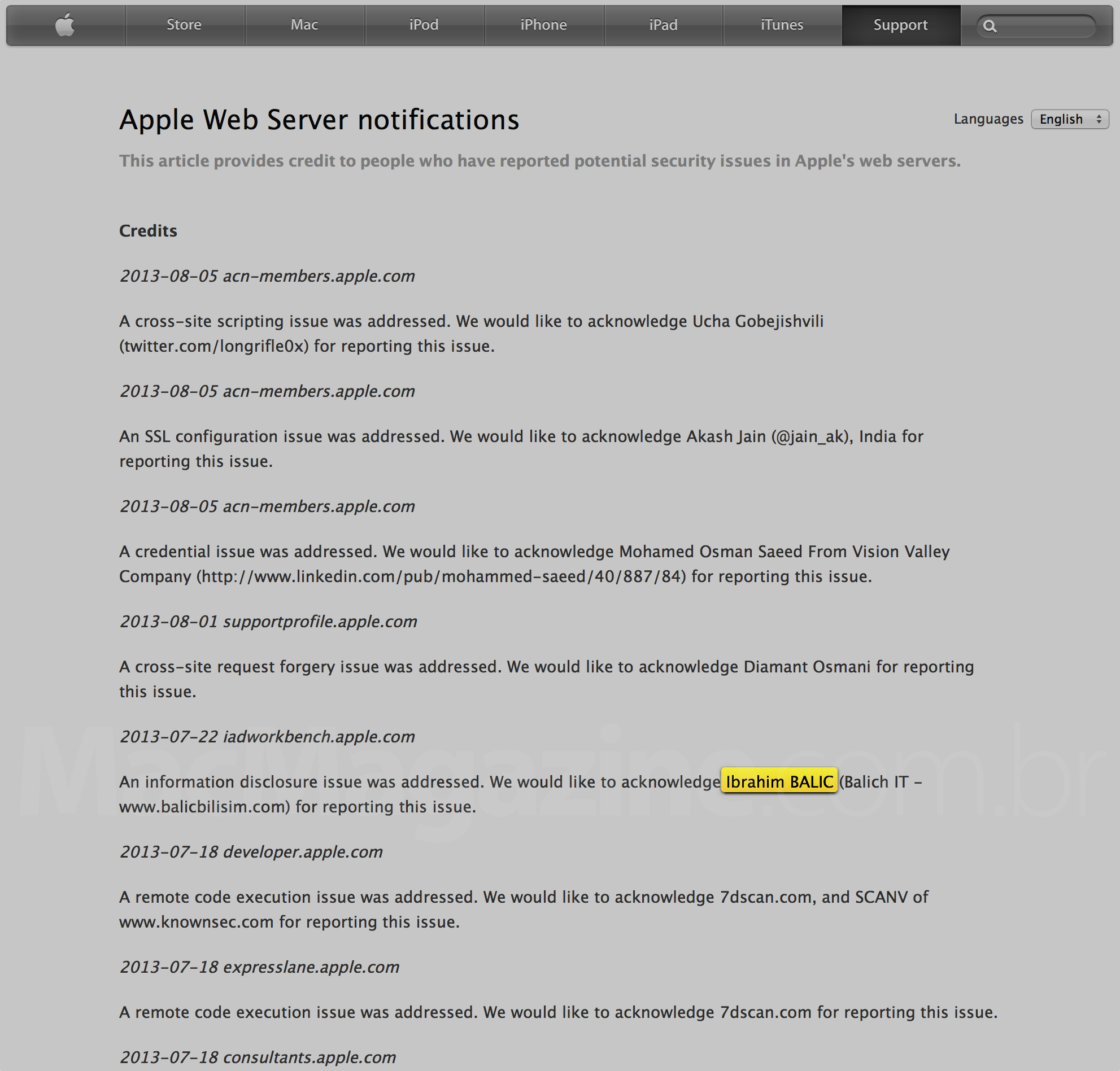 Crédito para Ibrahim Balic na página Apple Web Server Notifications