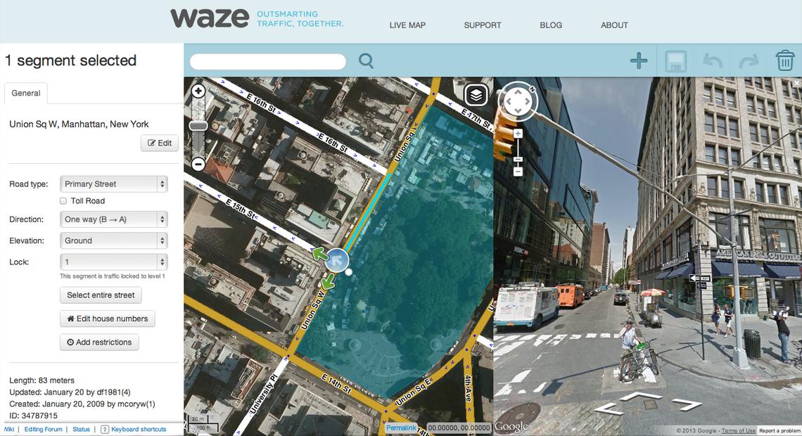 Imagens de satélite e Street View no Waze