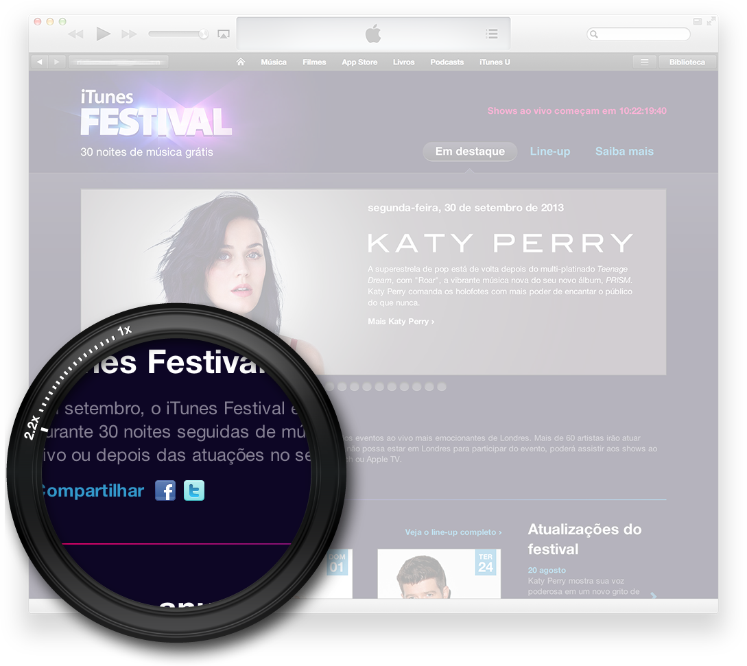 Compartilhamento do iTunes Festival via Facebook