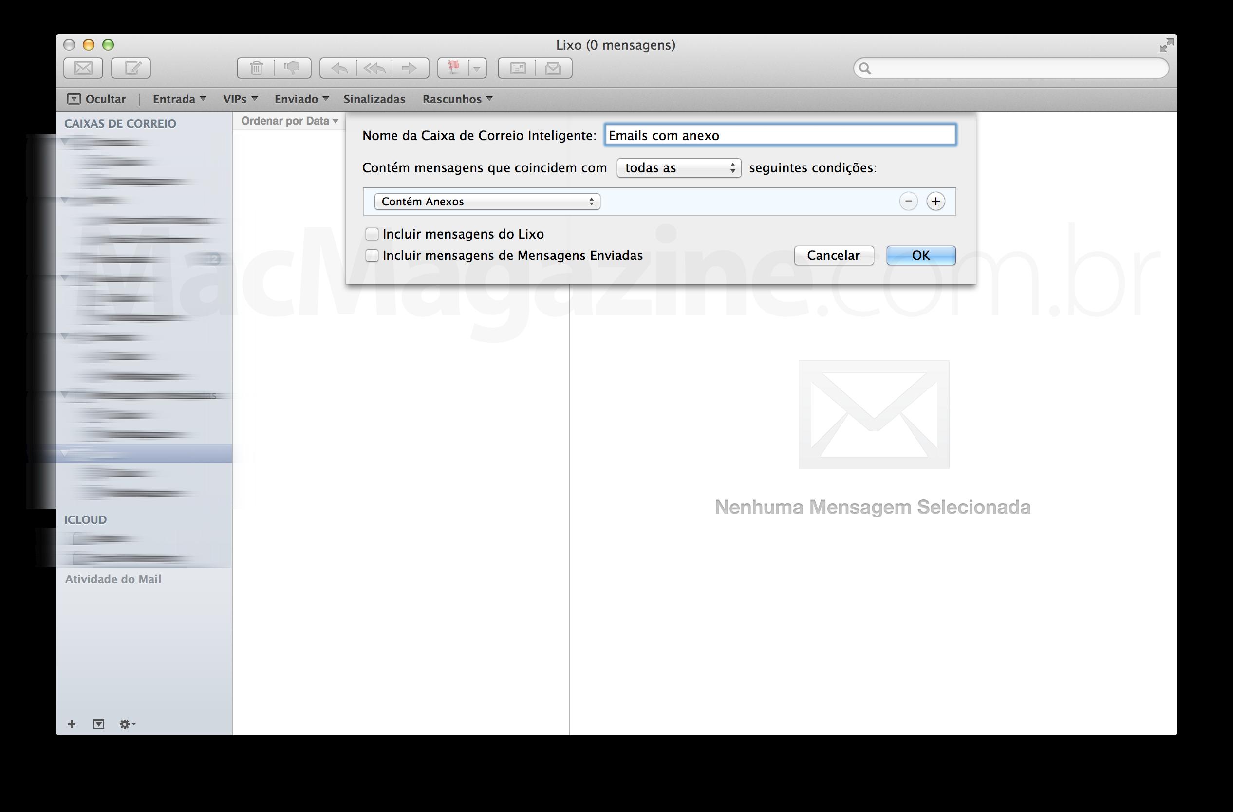 Visualizando mensagens com anexo no Mail
