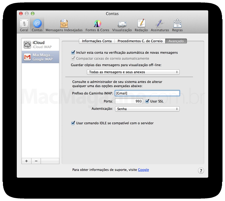 Configurando prefixo no Mail
