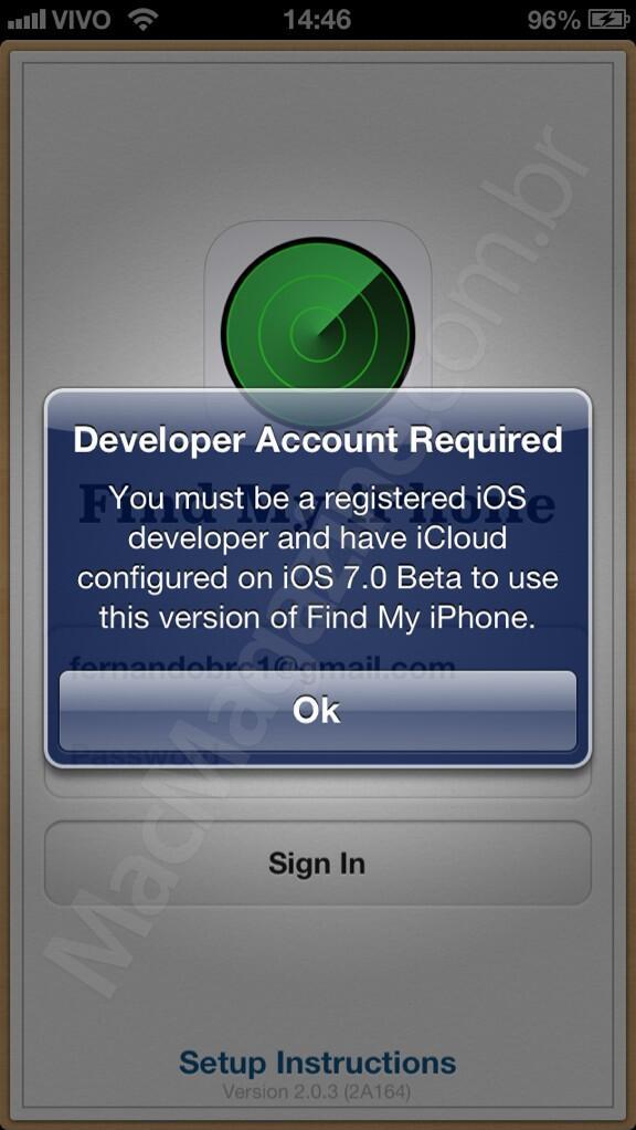 Find My iPhone com conta de desenvolvedor