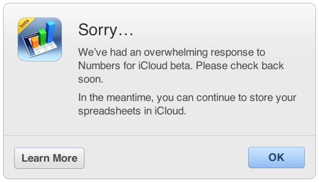 Aviso do iWork para iCloud