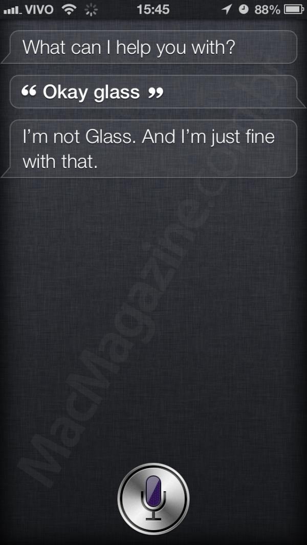 Siri respondendo a Ok Glass