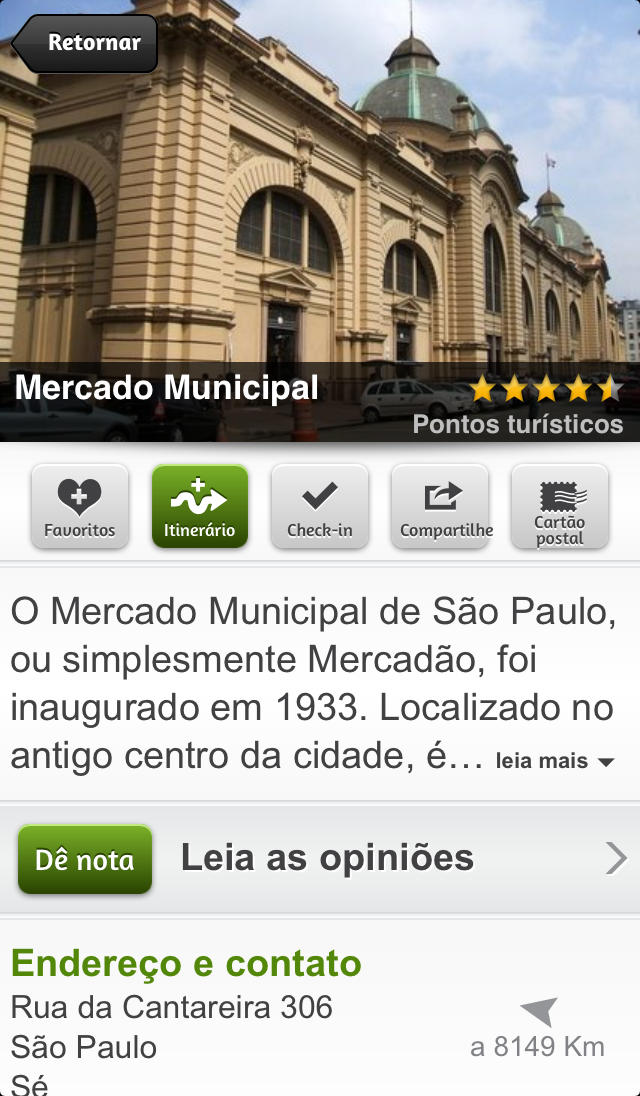 Aplicativo mTrip para iPhones/iPods touch