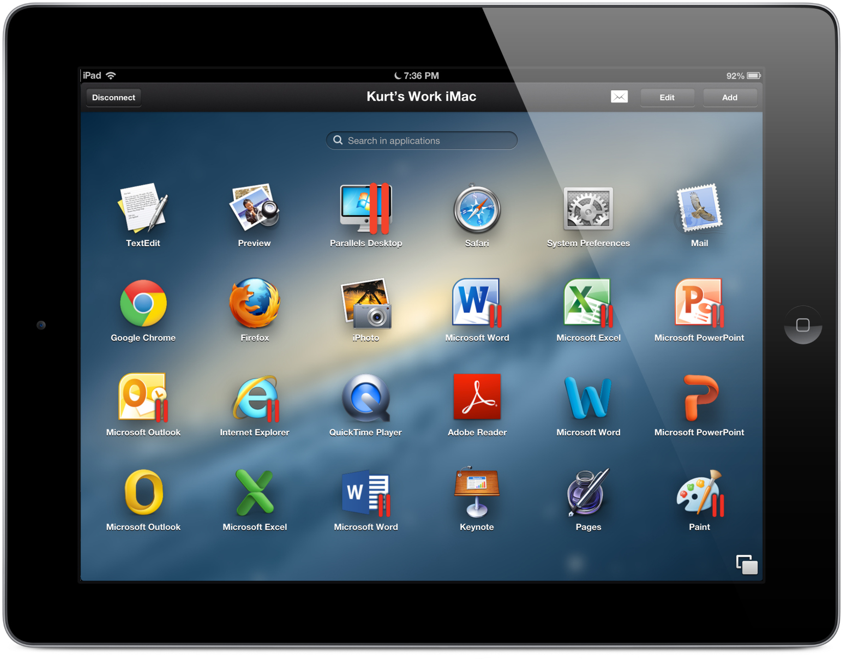 App Parallels Access para iPads