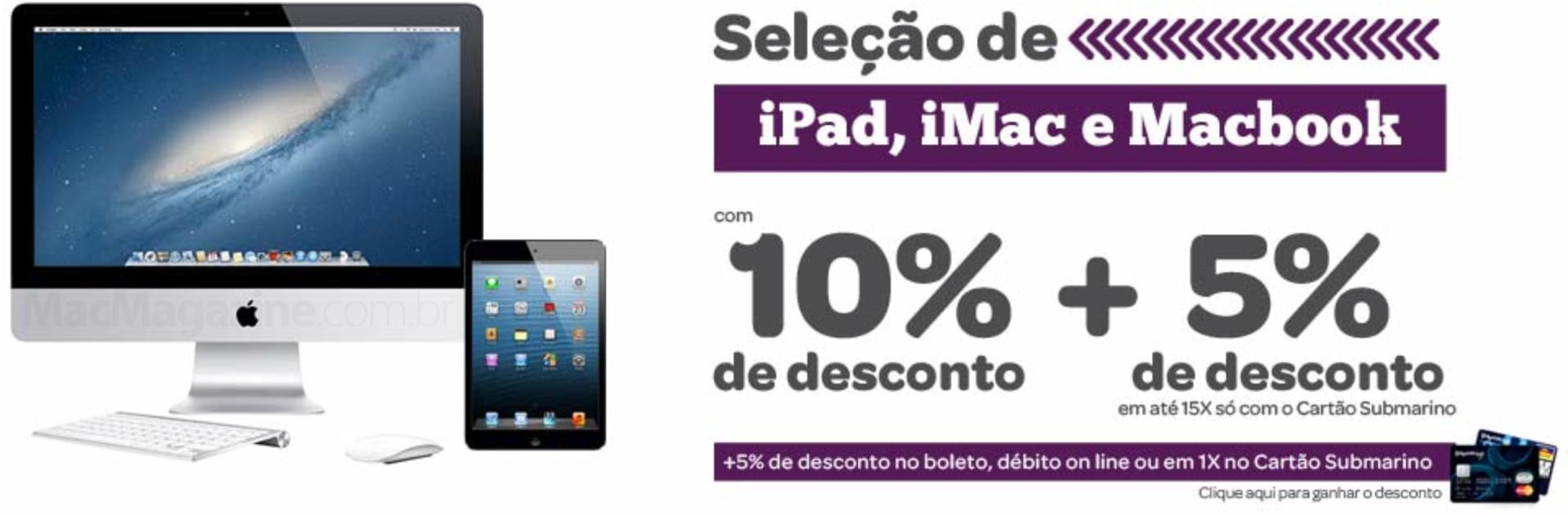 Promoção do Submarino - iPads, MacBooks e iMacs