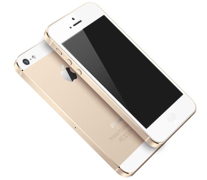 """Conceito de iPhone """"5S"""" dourado"""