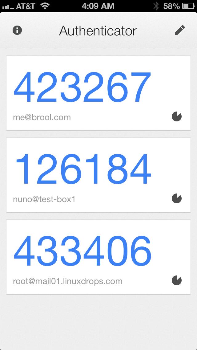 Screenshot do novo Google Authenticator