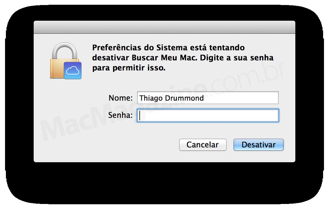 OS X Mavericks DP 7 pede senha para desligar Buscar Meu Mac