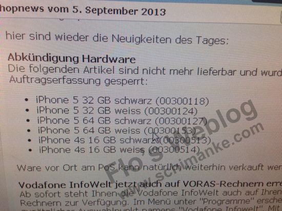 Email interno da Vodafone falando sobre descontinuação de iPhones