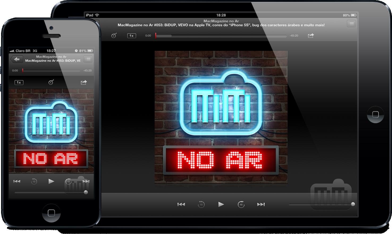 """Aplicativo Podcasts rodando o """"MacMagazine no Ar"""""""