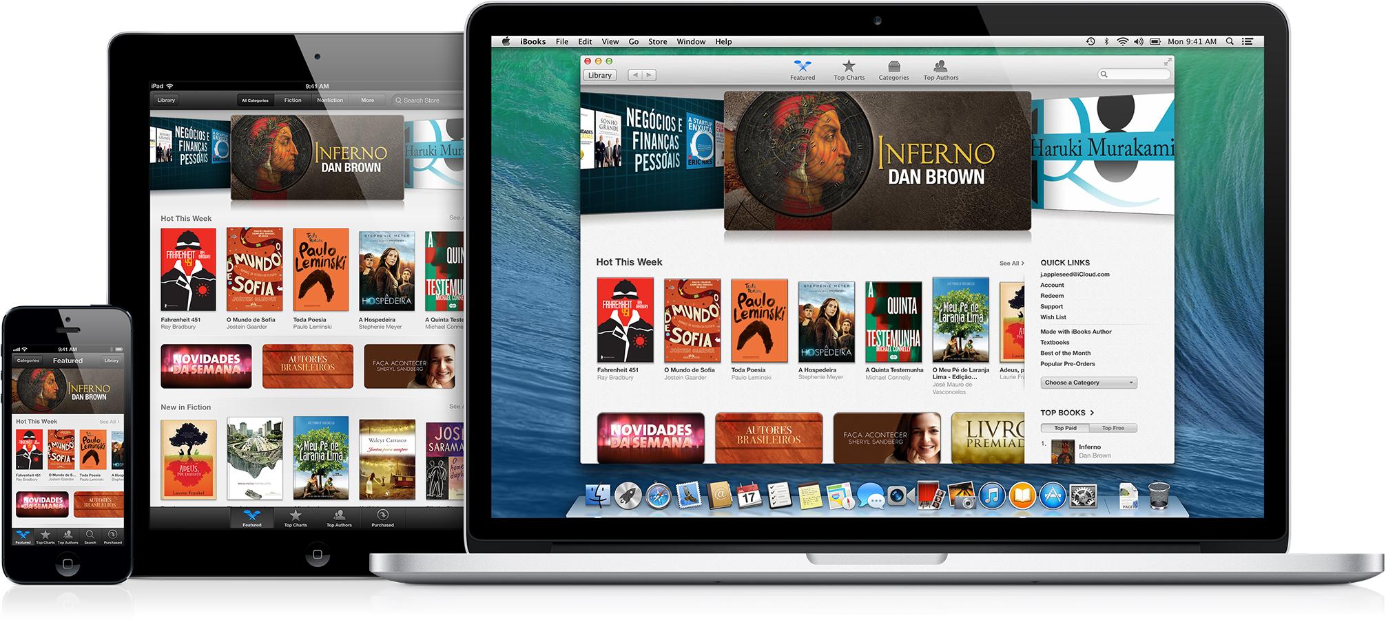 iBooks Store em MacBook Pro, iPad e iPhone