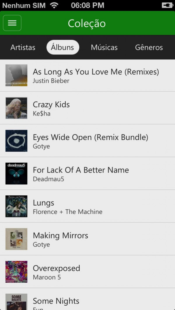 App Xbox Music para iPhones/iPods touch
