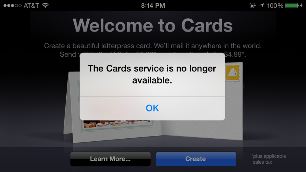 Cards descontinuado pela Apple