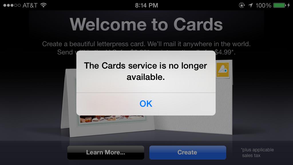 Cards descontinuado pela Apple
