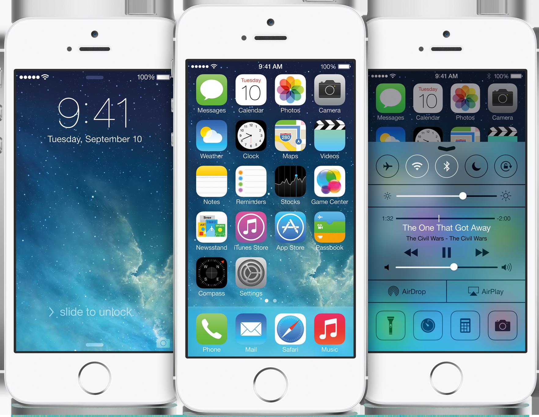 Tela inicial do iOS 7 em iPhones 5s
