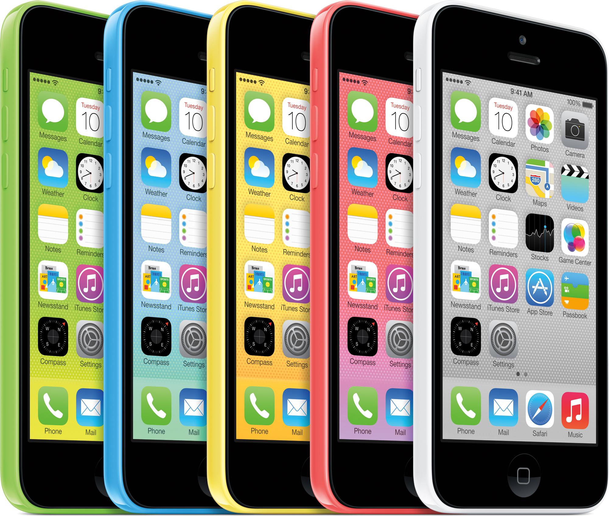 Cores dos iPhones 5c
