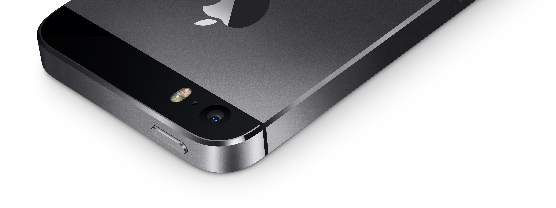 iPhone 5s de cima e de lado, com a câmera em destaque