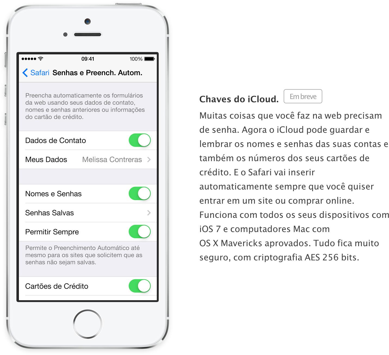 Chaves do iCloud - Em breve