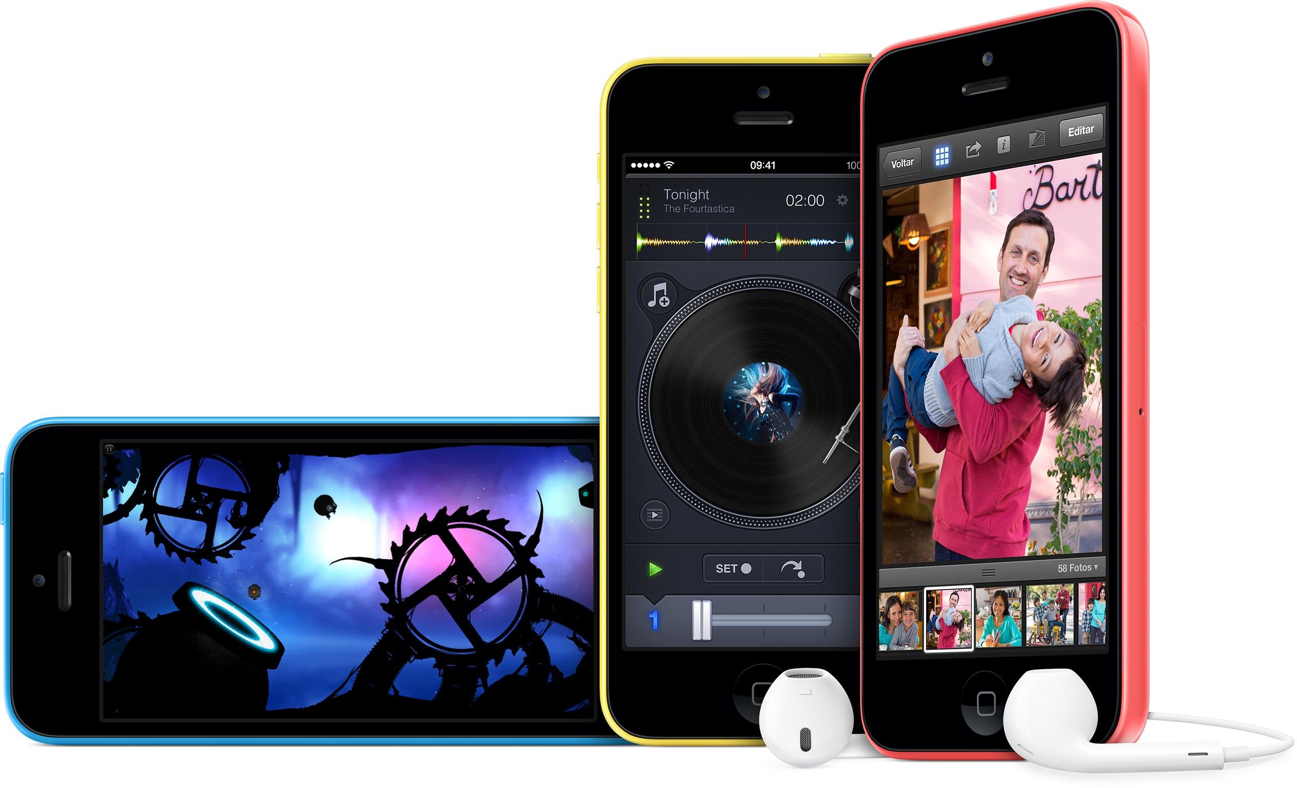 iPhones 5c (azul, amarelo e rosa)