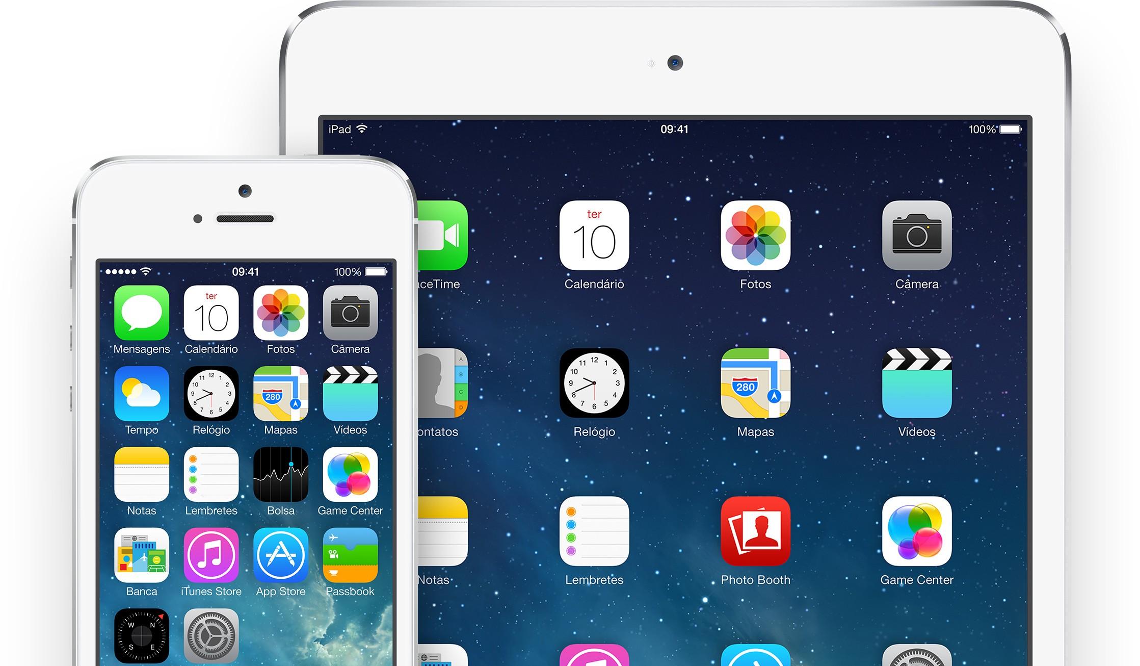 iOS 7 em um iPad mini e um iPhone 5s