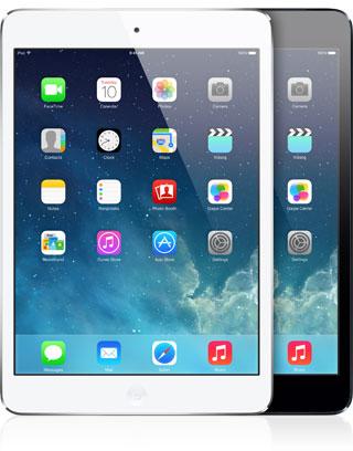 iPads mini de frente com o iOS 7