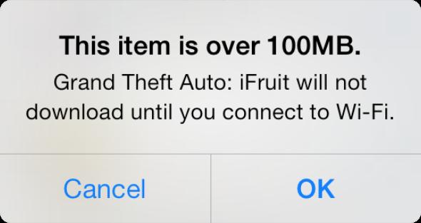 Aviso de limite de download do iOS 7 (100MB)