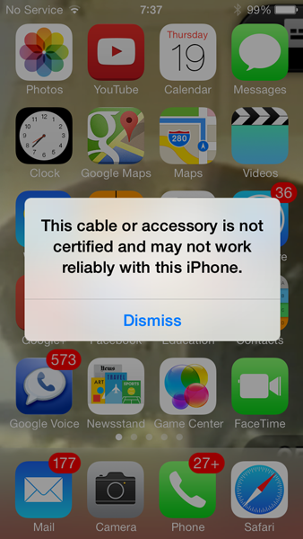 Acessório não autorizado no iOS 7