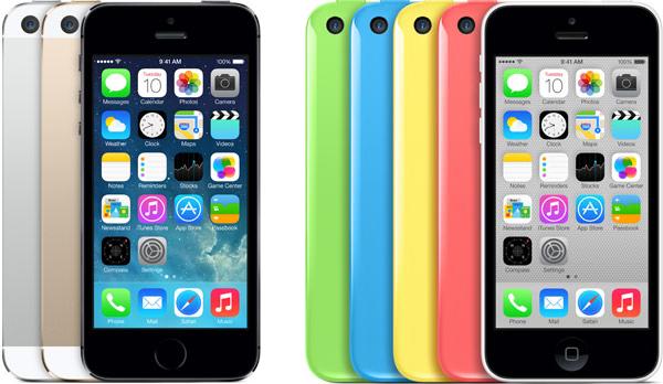 iPhones 5s e 5c de frente, com todas as cores