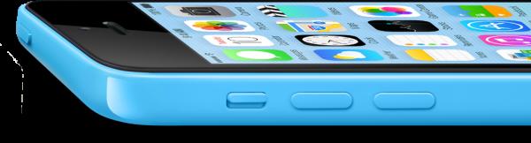 iPhone 5c azul, deitado e de lado