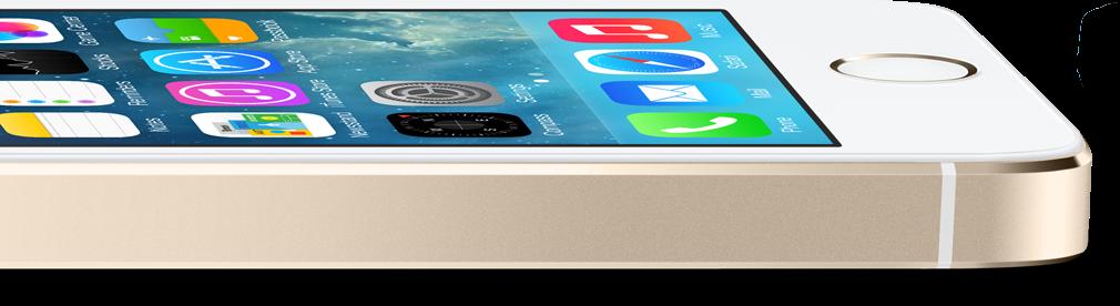 iPhone 5s dourado, deitado e de lado