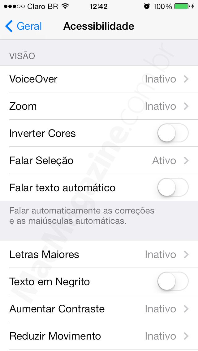 """Opção """"Reduzir Movimento"""" - iOS 7"""