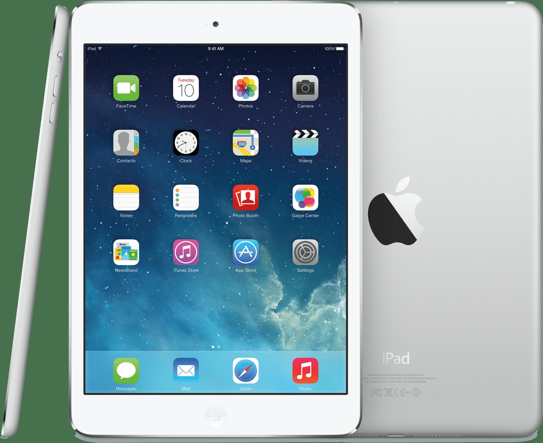 iPad mini com o iOS 7 por vários ângulos