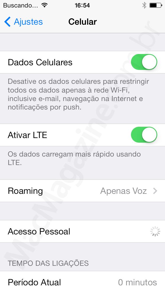 Ajuste de LTE no iPhone 5s