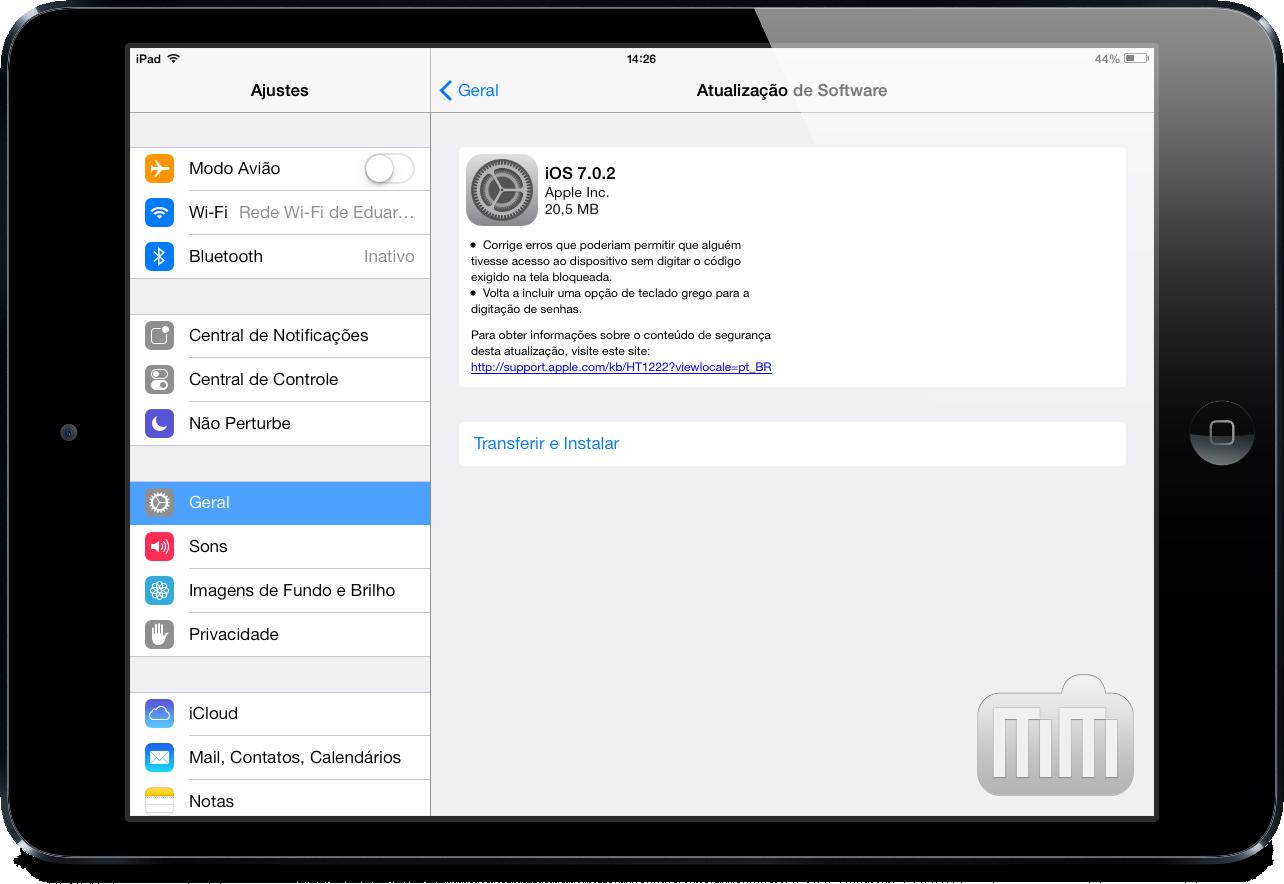 iOS 7.0.2 num iPad mini