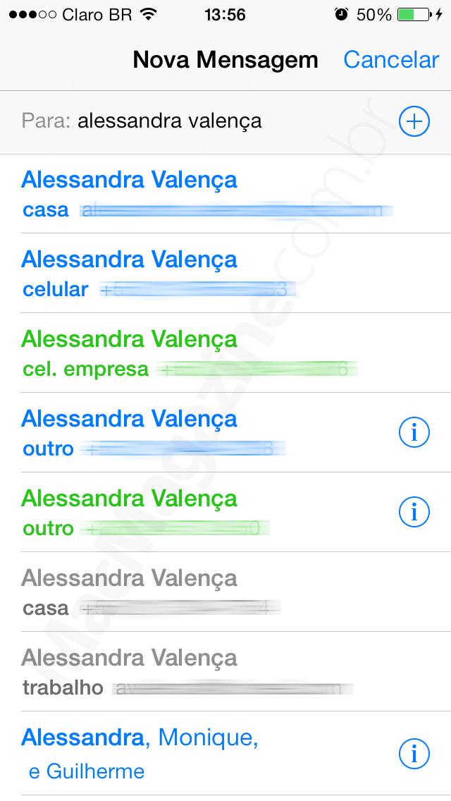 Removendo números antigos no app Mensagens