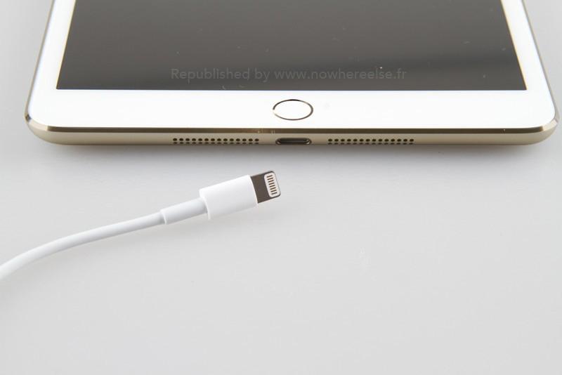Render de iPad mini dourado com Touch ID