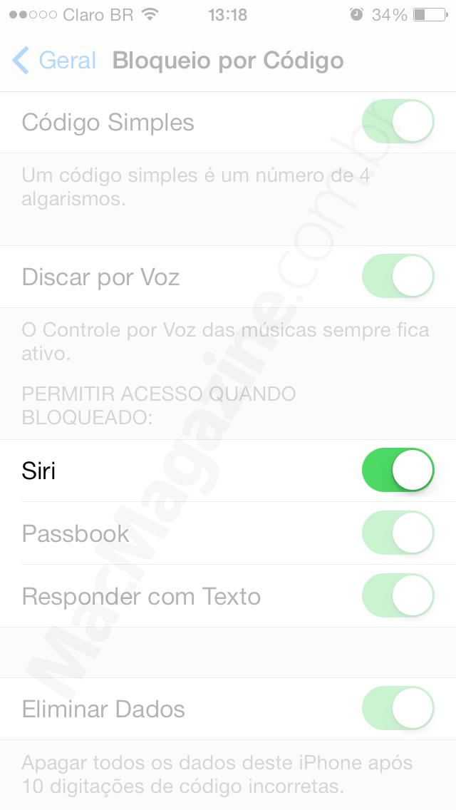 Desabilitando a Siri na tela bloqueada