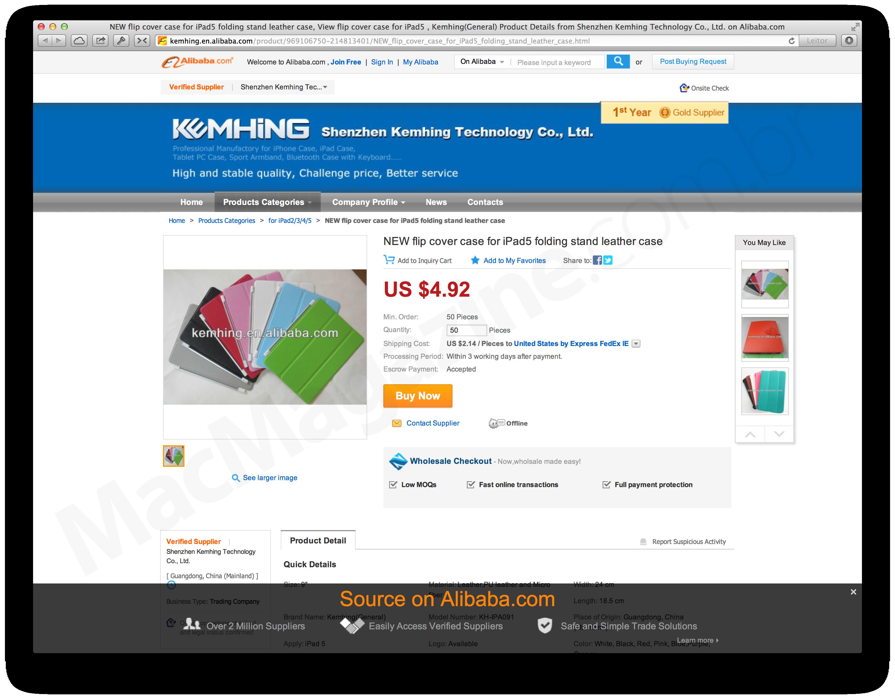 Smart Covers falsas para iPads de 5ª geração