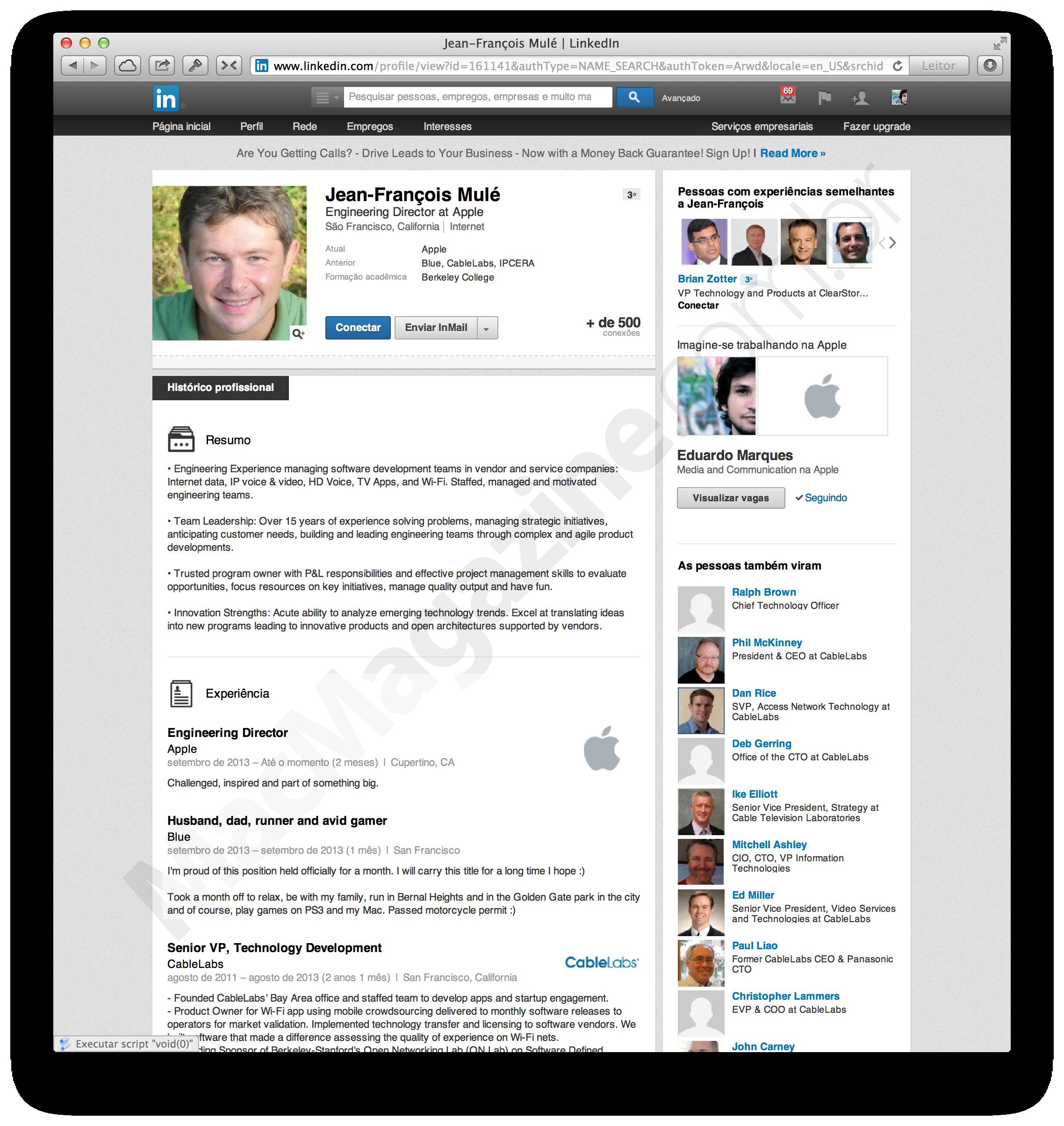 Página do LinkedIn de Jean-François Mulé